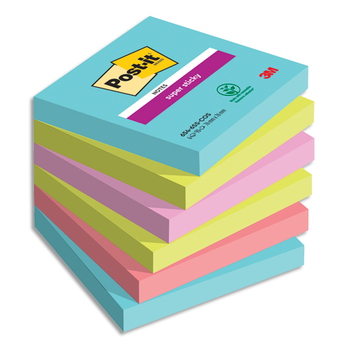 Code 281118, Désignation: POST-IT Lot de 6 blocs notes Super Sticky Post-it® Collection MIAMI 76x76 mm, 90 feuilles.